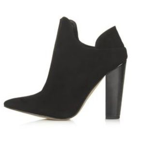 "Topshop ""Again"" Black Suede Ankle Booties"